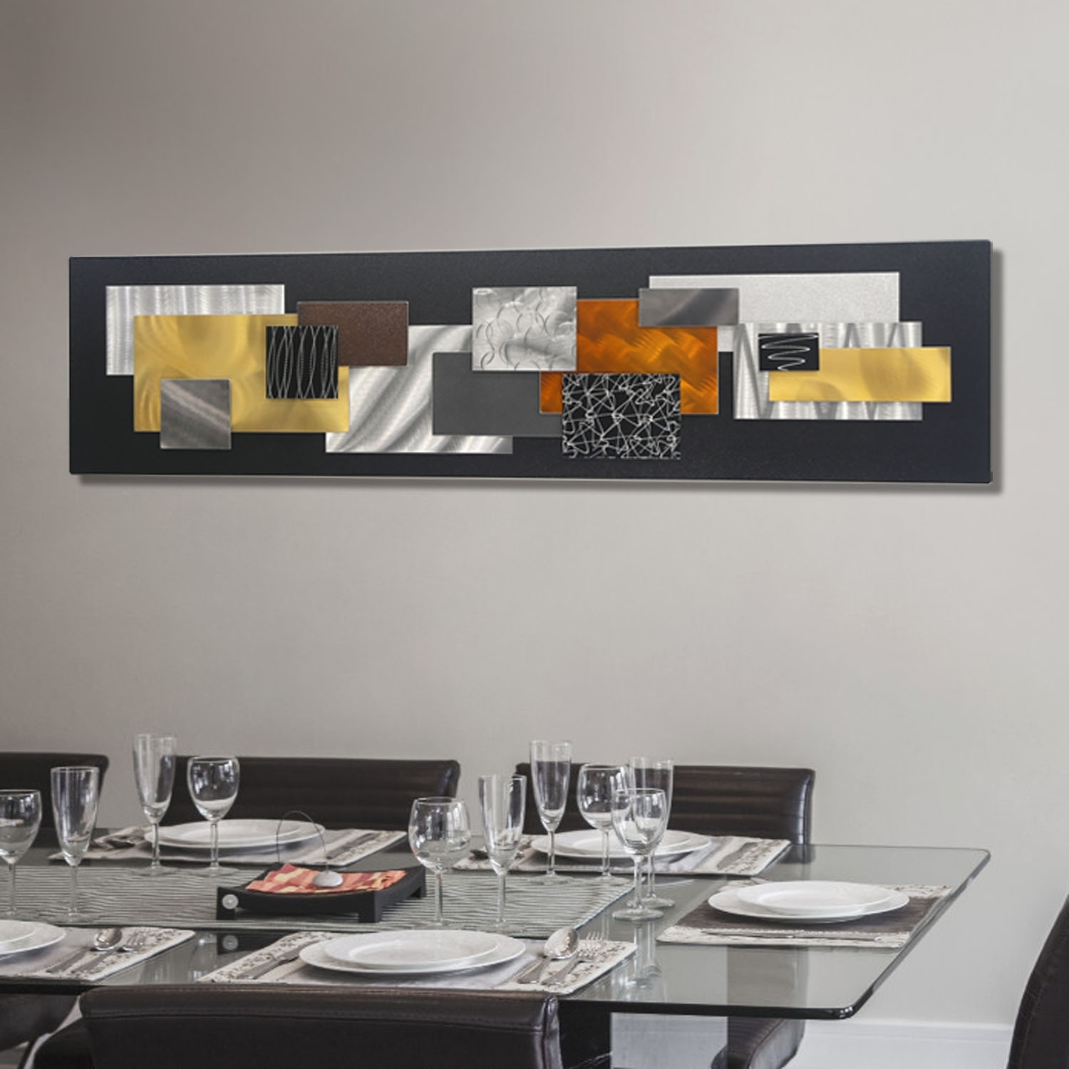 City In Falljon Allen – Black, Silver, Gold & Copper Geometric Within 2018 Black And Gold Abstract Wall Art (View 2 of 20)