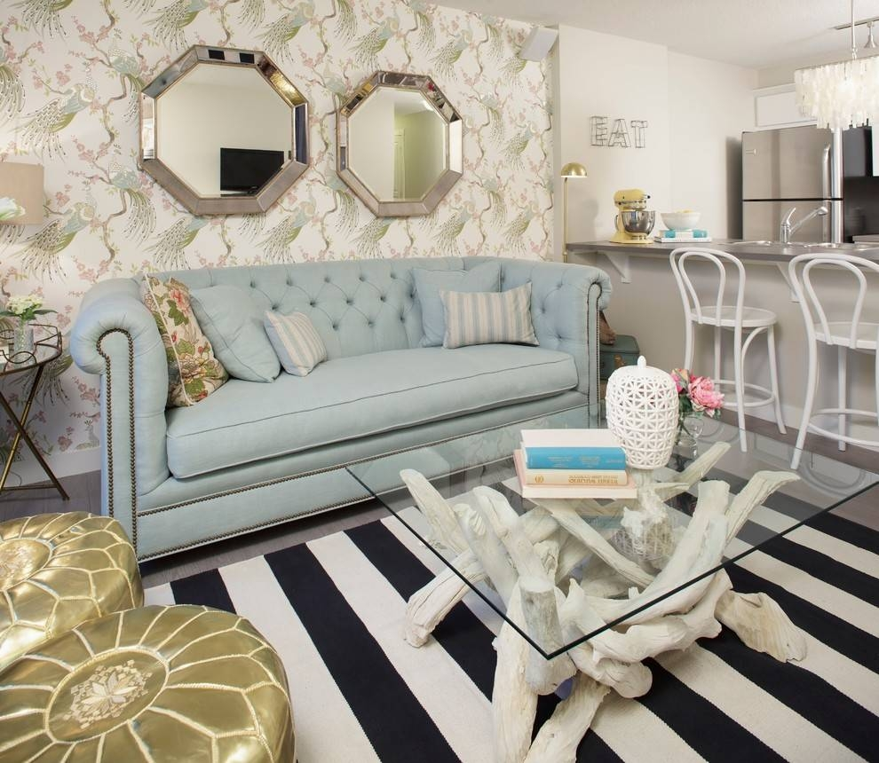 Coastal Couch With Wallpaper Living Room Eclectic And Moroccan With Regard To Most Current Crate Barrel Coastal Wall Art (View 17 of 20)