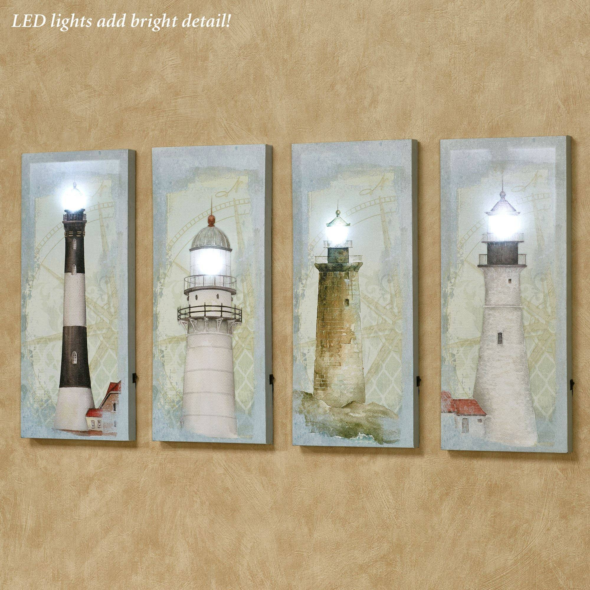 Coastal Lighthouse Led Lighted Canvas Wall Art Set Within Latest Coastal Wall Art Canvas (View 13 of 20)