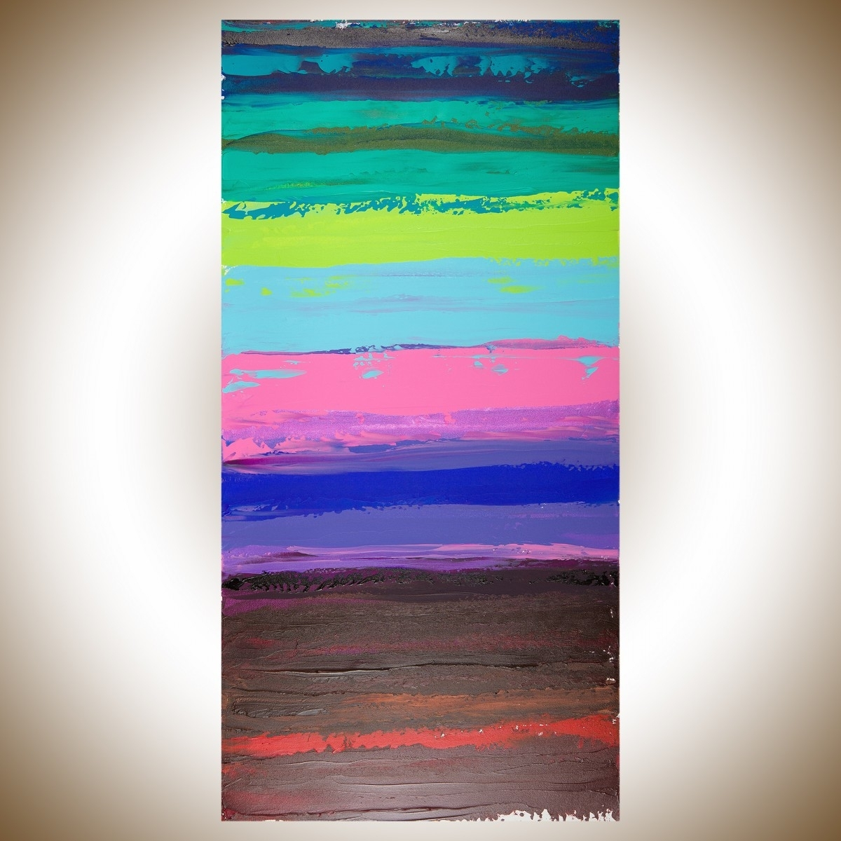 "Colorful Abstract 1Qiqigallery 48""x24"" Original Modern With 2018 Blue Green Abstract Wall Art (Gallery 13 of 20)"