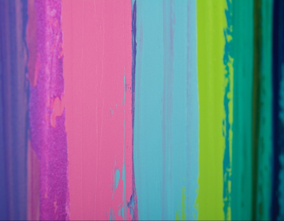 """Colorful Abstract 1Qiqigallery 48""""x24"""" Original Modern Within Best And Newest Blue Green Abstract Wall Art (Gallery 17 of 20)"""