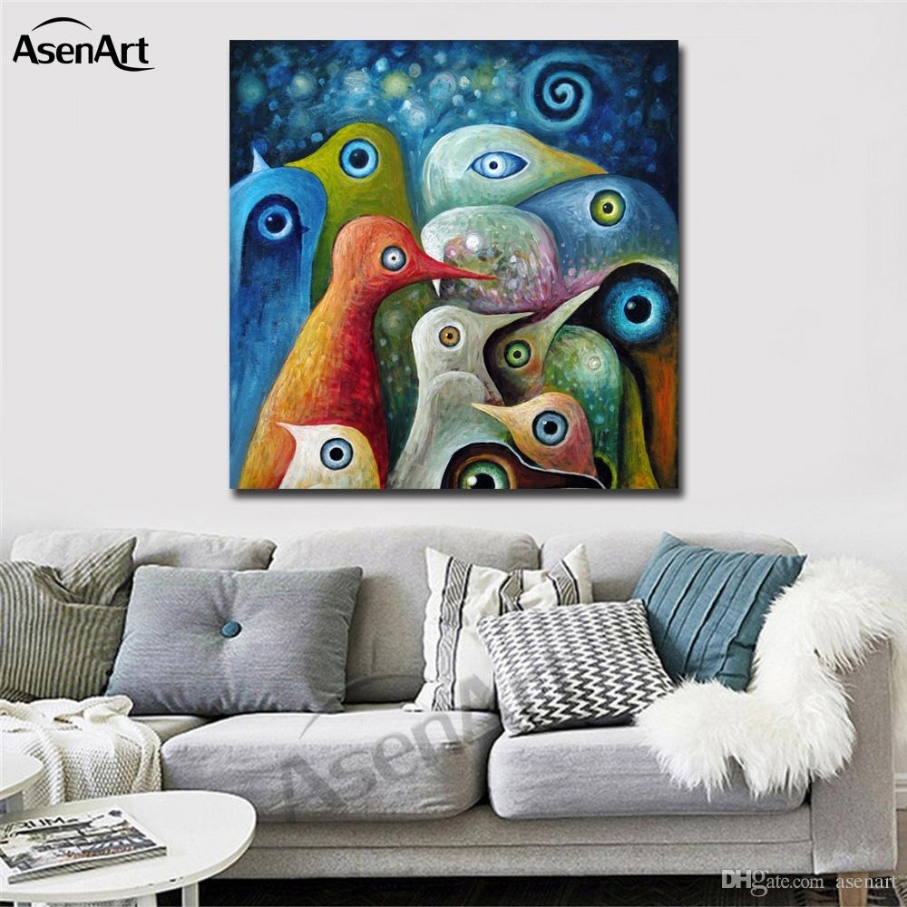 Colorful Abstract Birds Modernism Oil Painting Printed On Canvas Pertaining To Most Popular Abstract Art Wall Murals (View 9 of 20)