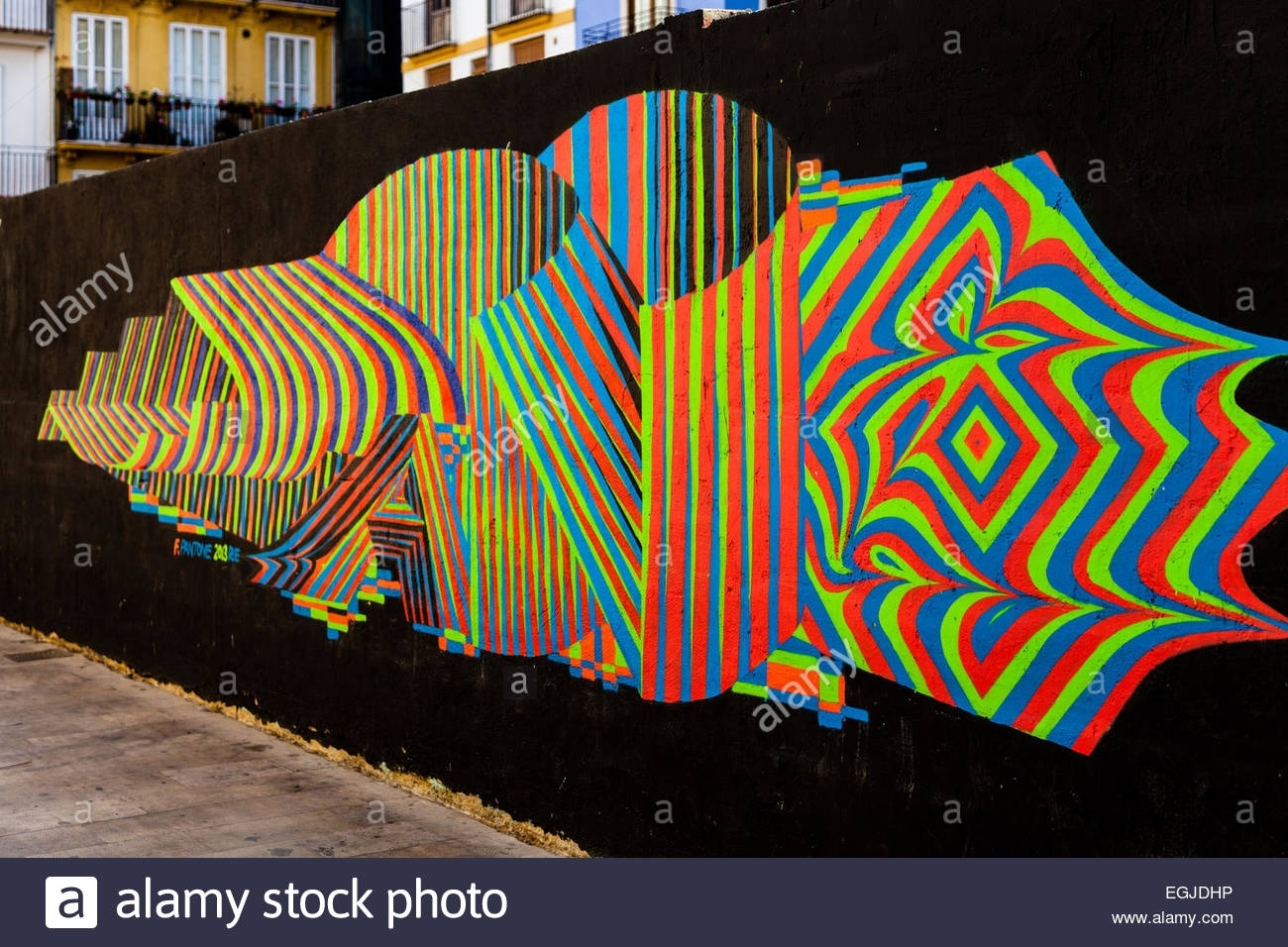 Colorful Abstract Lines On The Public Wall, Art Or Graffiti Pertaining To Most Recently Released Abstract Graffiti Wall Art (View 8 of 20)