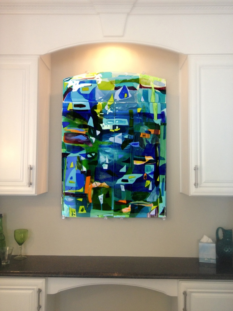 Colorful Fused Glass Wall Art Panel | Designer Glass Mosaics Pertaining To Most Popular Glass Abstract Wall Art (View 8 of 20)