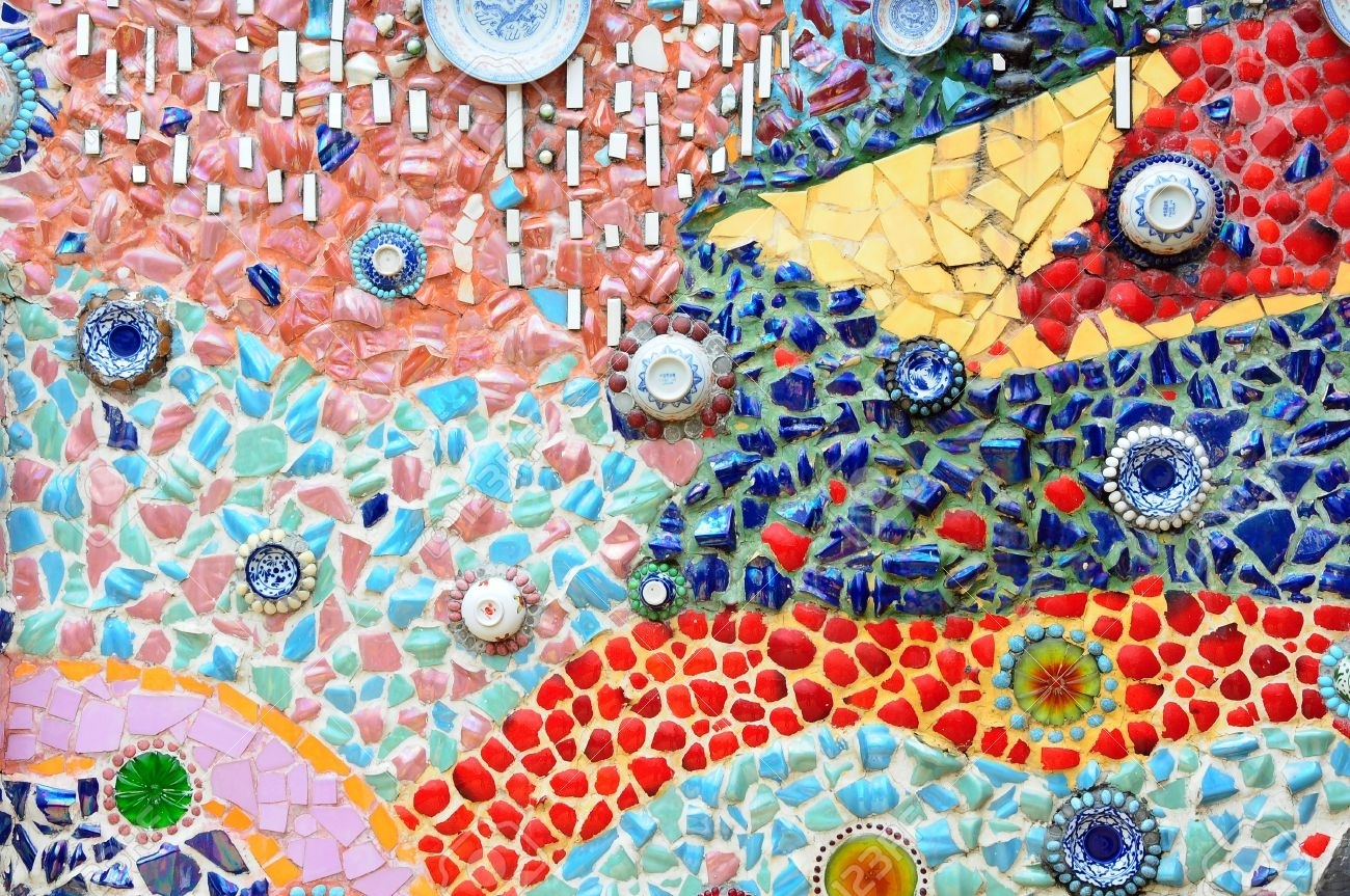 Colorful Glass Mosaic Art And Abstract Wall Background Stock Photo In Latest Abstract Mosaic Art On Wall (View 10 of 20)