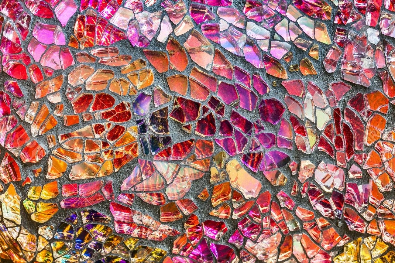 Colorful Glass Mosaic Art And Abstract Wall Background Stock Photo Regarding 2018 Abstract Mosaic Art On Wall (View 11 of 20)