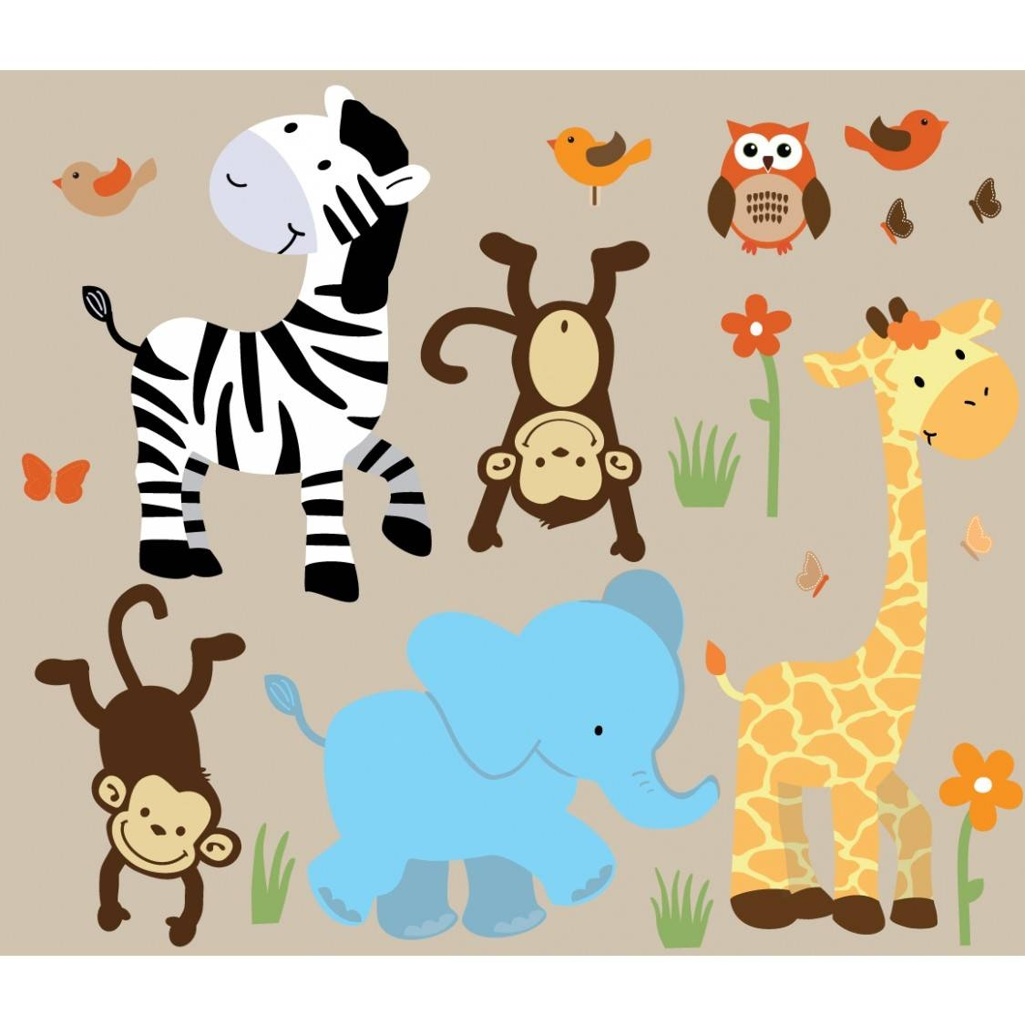 Colorful Jungle Wall Decals For Nursery With Zebra Wall Murals For For Latest Safari Animal Wall Art (View 7 of 20)