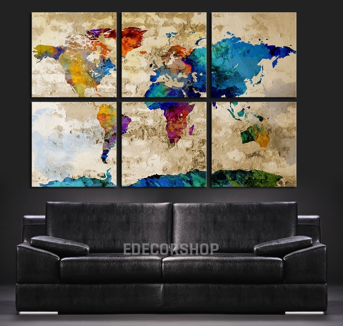 Colorful World Map Art Canvas Print – Watercolor World Map 6 Piece Inside Most Popular Abstract Wall Art Canvas (View 7 of 20)