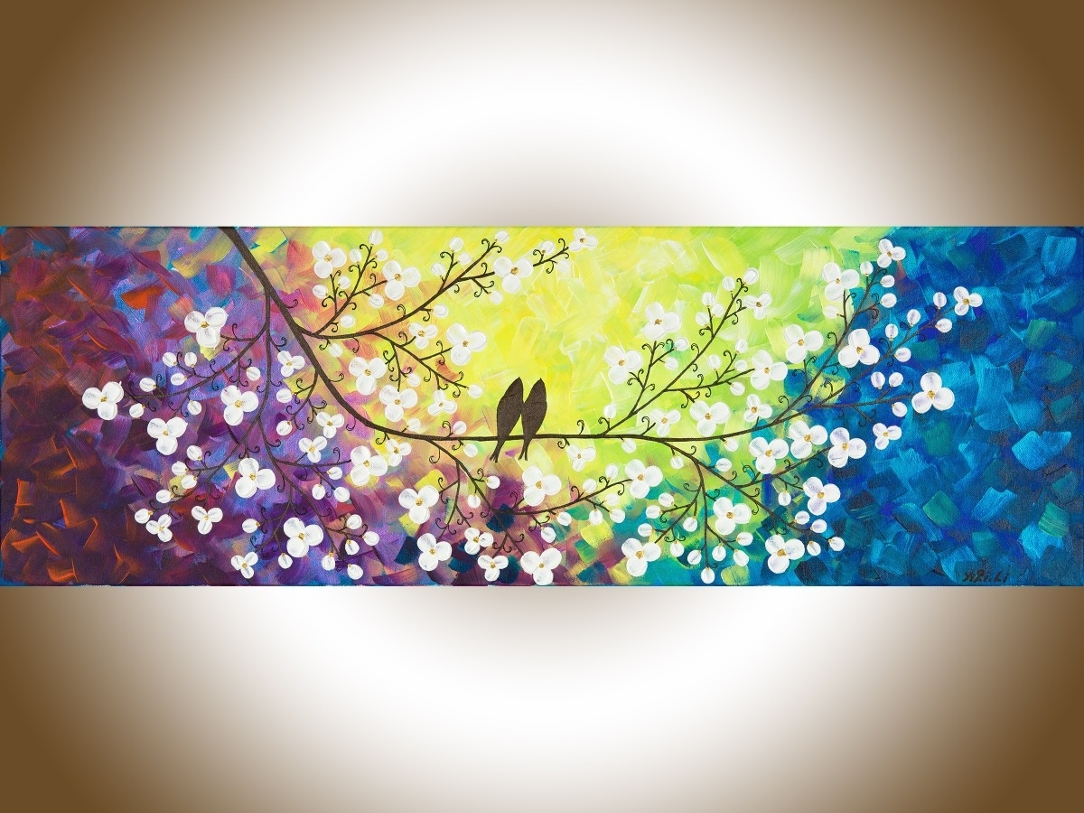"Colors Of Loveqiqigallery 36"" X 12"" Original Modern Abstract For Best And Newest Abstract Bird Wall Art (View 20 of 20)"