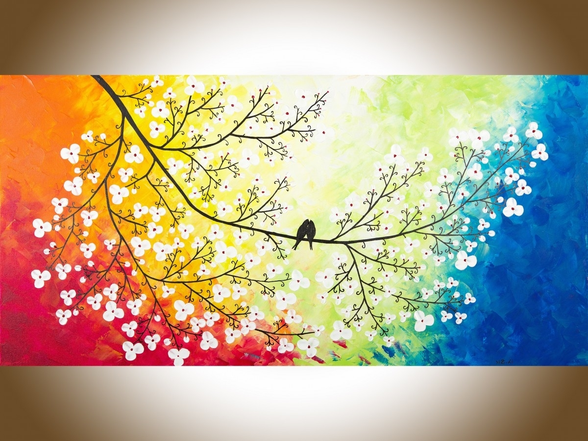 "Colors Of Loveqiqigallery 48"" X 24"" Original Modern Abstract For Newest Abstract Bird Wall Art (View 18 of 20)"