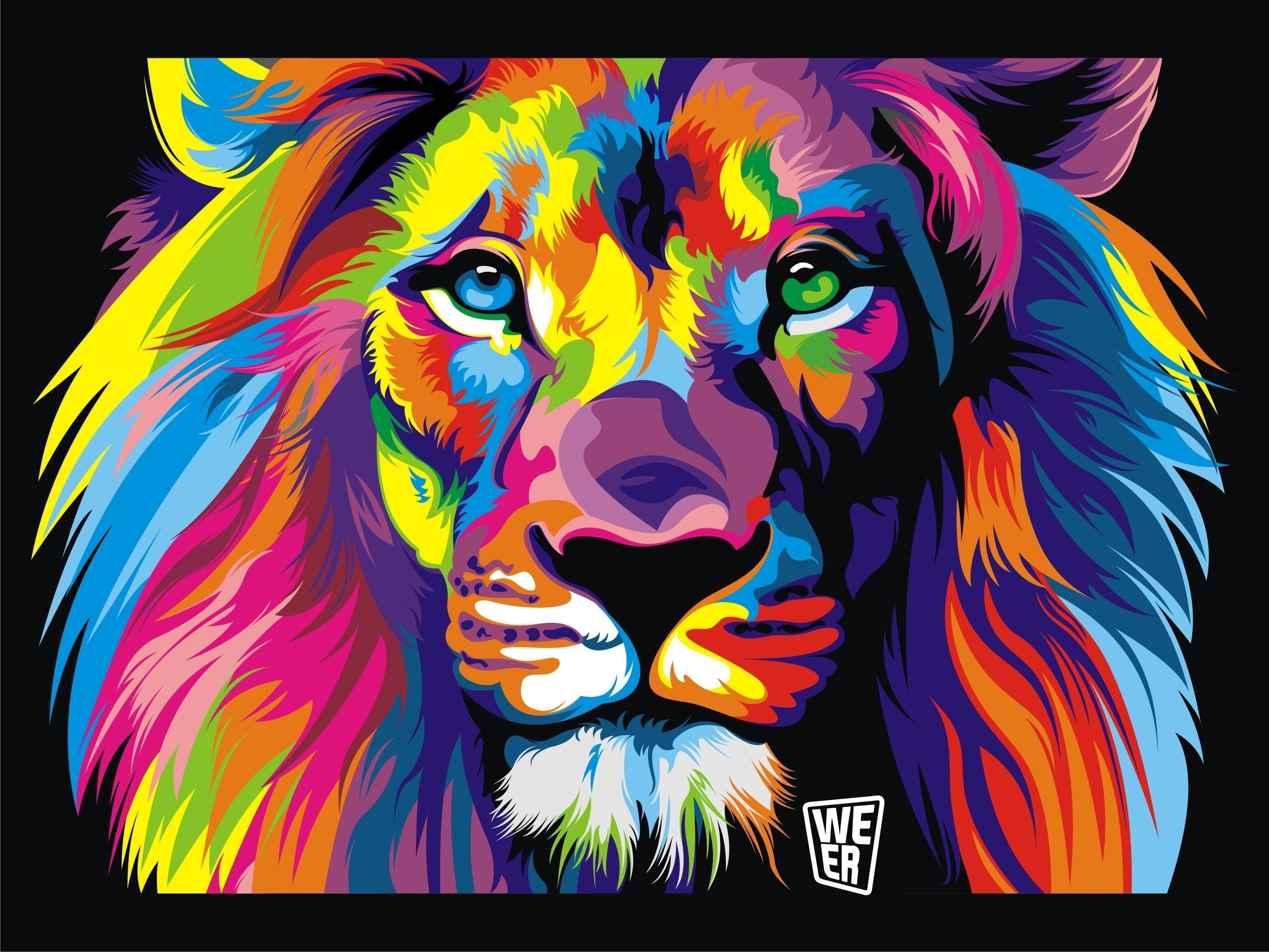 Colourful Lion Face Wallpaper | Hdwallpaperfx | Pinterest Regarding Best And Newest Abstract Lion Wall Art (View 18 of 20)