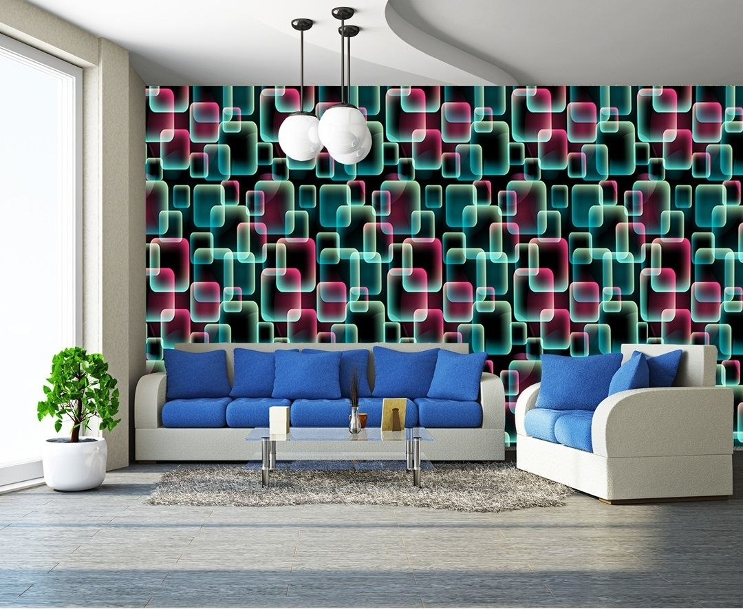 Colours, 3d Squares Art Wall Mural Decor Photo Wallpaper With Latest Abstract Art Wall Murals (View 9 of 20)