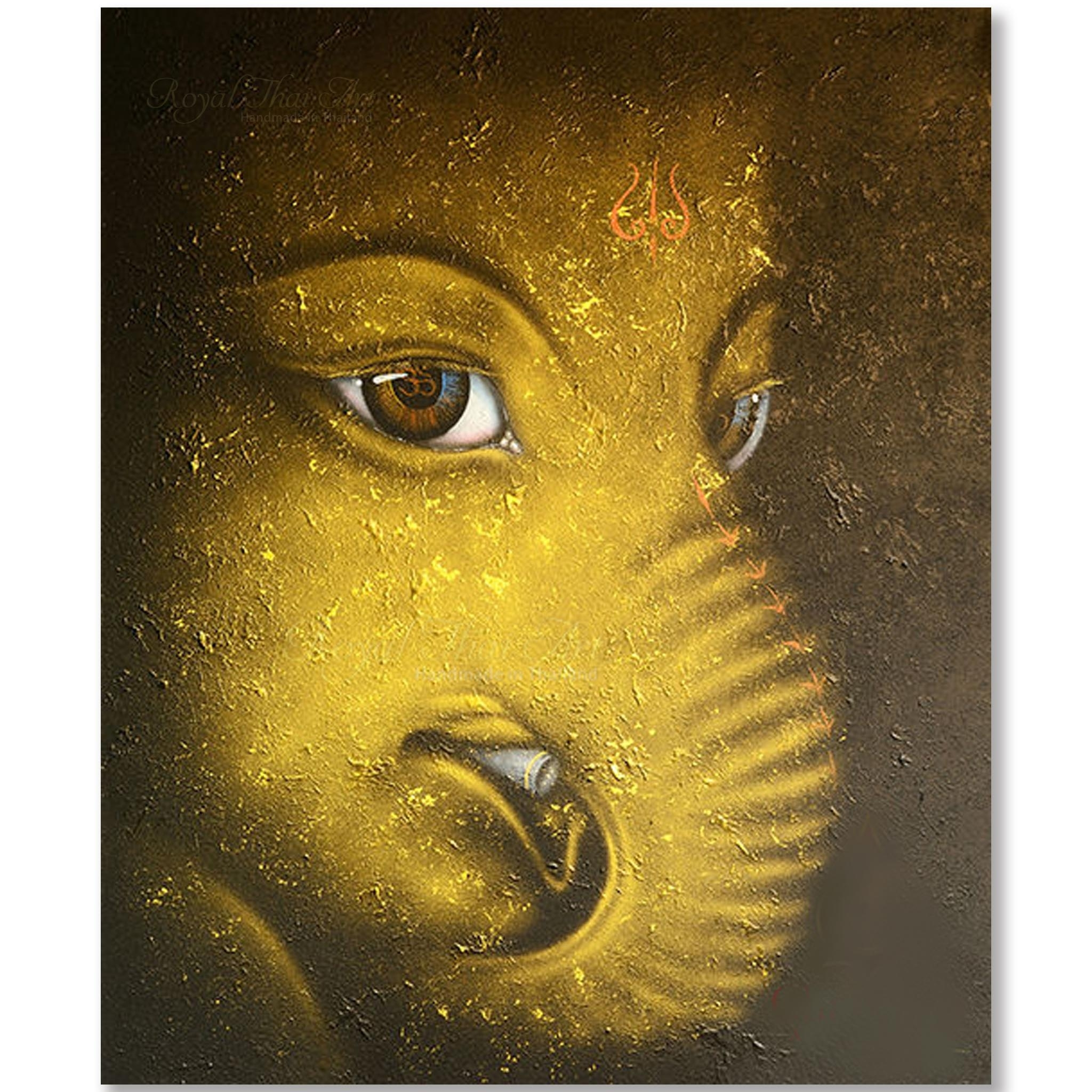 Contemporary Ganesha Painting L Acrylic Gold Leaf On Canvas Thai Art With Regard To Newest Abstract Ganesha Wall Art (View 10 of 20)