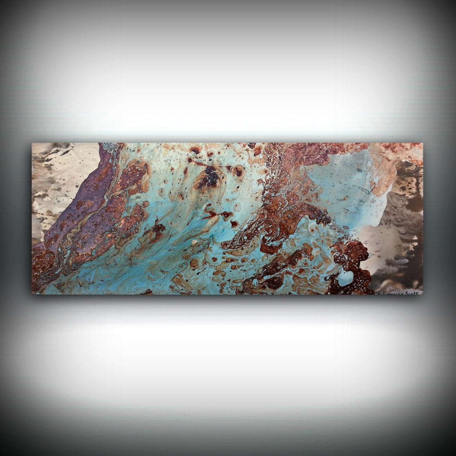 Copper Coastal Painting 16 X 40, Acrylic Painting On Canvas Regarding Current Abstract Copper Wall Art (View 13 of 20)