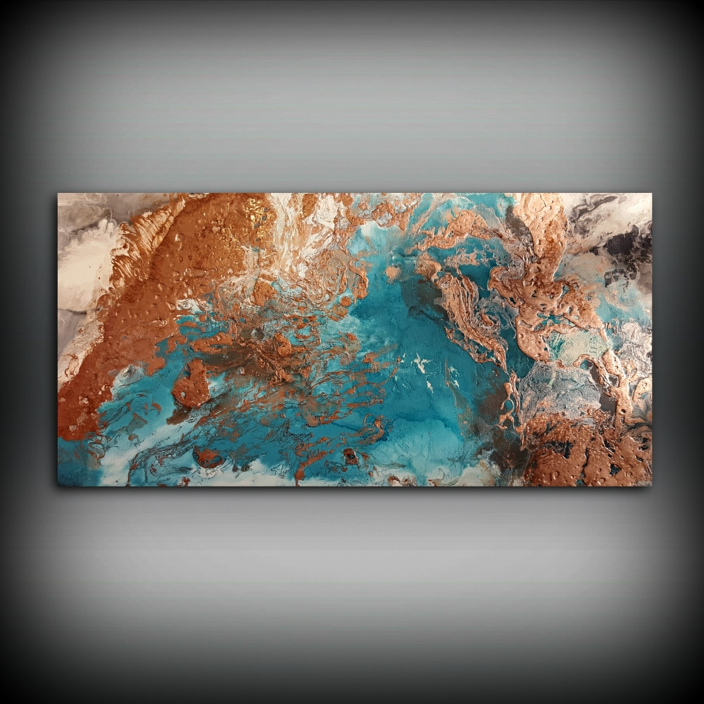 Copper Coastal Painting 24 X 48, Acrylic Painting On Canvas Throughout 2018 Abstract Copper Wall Art (View 17 of 20)