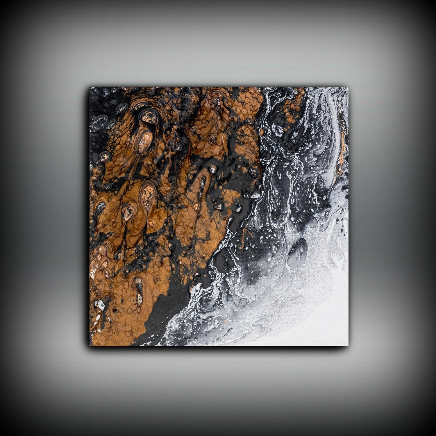 Copper Painting, Art Painting Original Abstract Painting, Black Throughout Current Abstract Copper Wall Art (View 20 of 20)