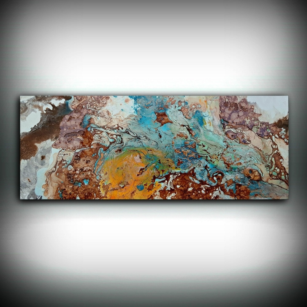 Copper Painting Coastal 16 X 40, Acrylic Painting On Canvas Inside Recent Abstract Copper Wall Art (Gallery 11 of 20)