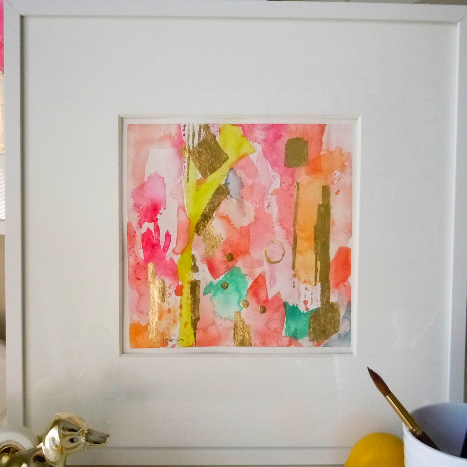 "Coral Pink Abstract Art Print, – ""georgia On My Mind"",  Wall Art Within Recent Pink Abstract Wall Art (View 8 of 20)"
