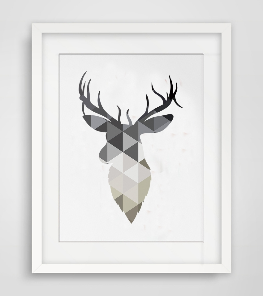 Cotill Geometric Deer Head Canvas Painting Pictures Wall Art For Recent Abstract Deer Wall Art (View 4 of 20)