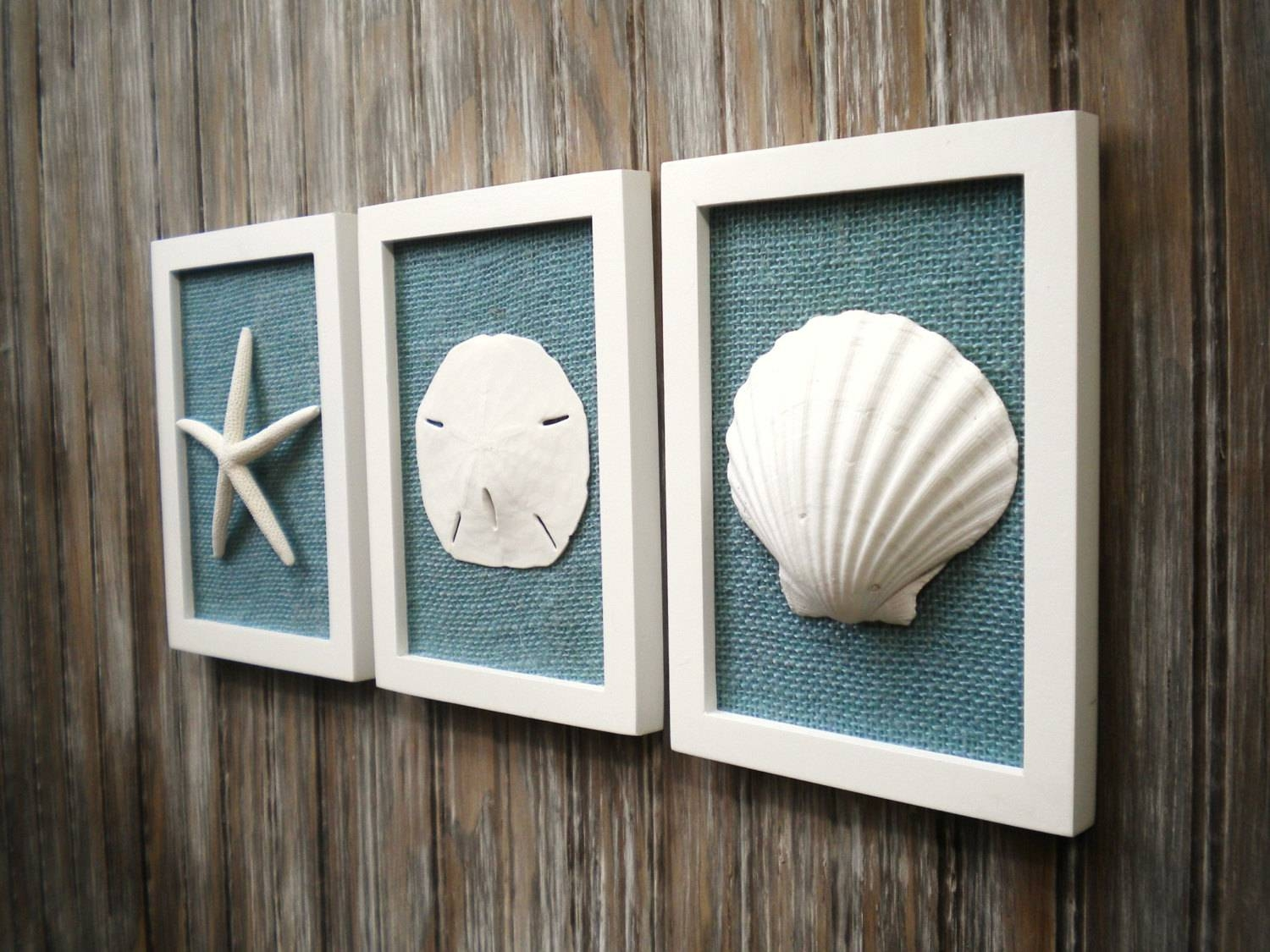 Cottage Chic Set Of Beach Decor Wall Art Nautical Decor For Current Coastal Wall Art Decor (View 9 of 20)
