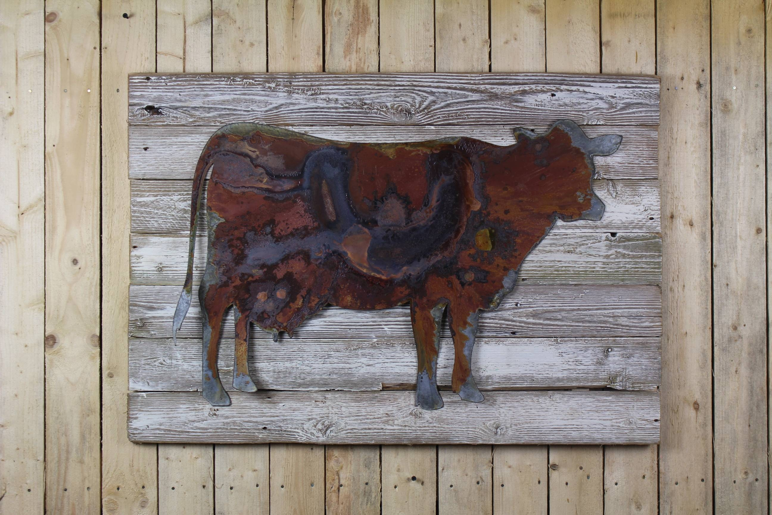 Cow On Wood Back – Rustic Metal Letters & Wall Art In Current Farmanimal Wall Art (View 11 of 20)