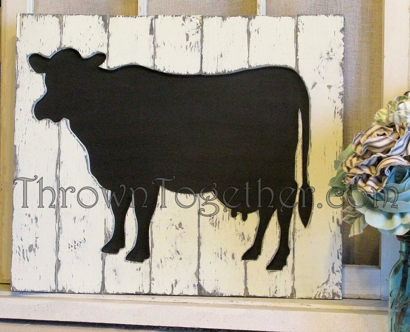 Cow Wall Art, Handcrafted Distressed Wood Cow Sign, Barnyard Sign Within Most Current Farm Animal Wall Art (View 7 of 20)