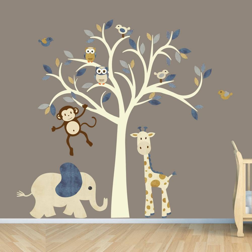 Cream Tree Decal Denim Color Boy Room Wall Decal Jungle In Most Recent Jungle Animal Wall Art (View 6 of 20)