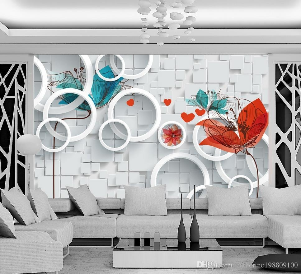 Custom Any Size Hand Painted Abstract Floral 3d Background Wall Pertaining To Latest Abstract Art Wall Murals (View 17 of 20)