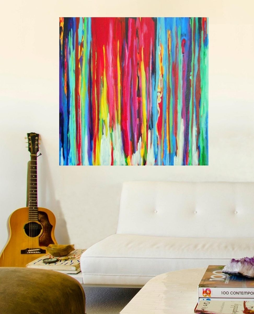 Custom Made Neon Abstract Acrylic Paintingprecious Beast With Regard To Most Popular Abstract Neon Wall Art (View 9 of 20)