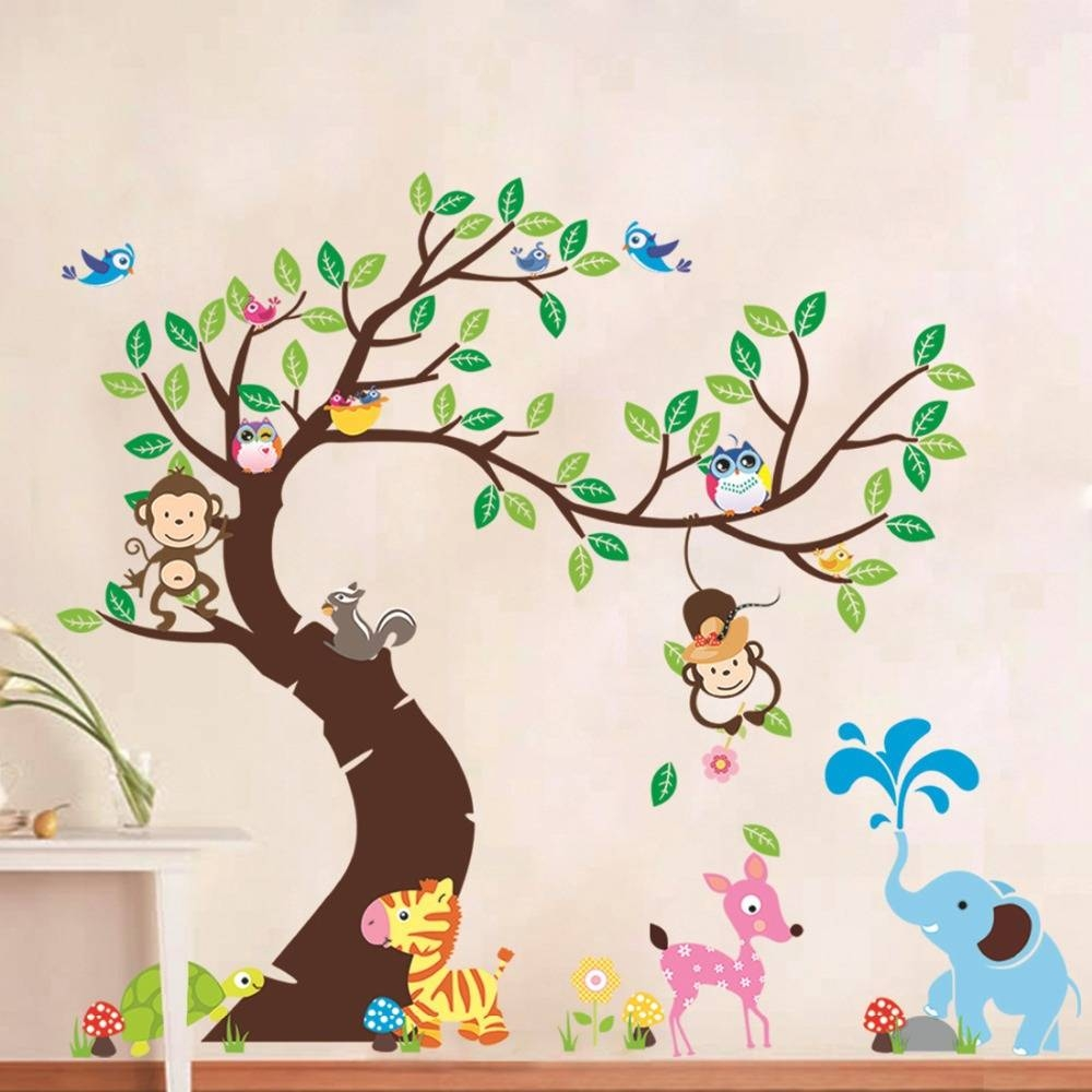 Cute Jungle Animals Tree Monkey Owl Wall Sticker For Kids Rooms Pertaining To Most Current Jungle Animal Wall Art (View 7 of 20)