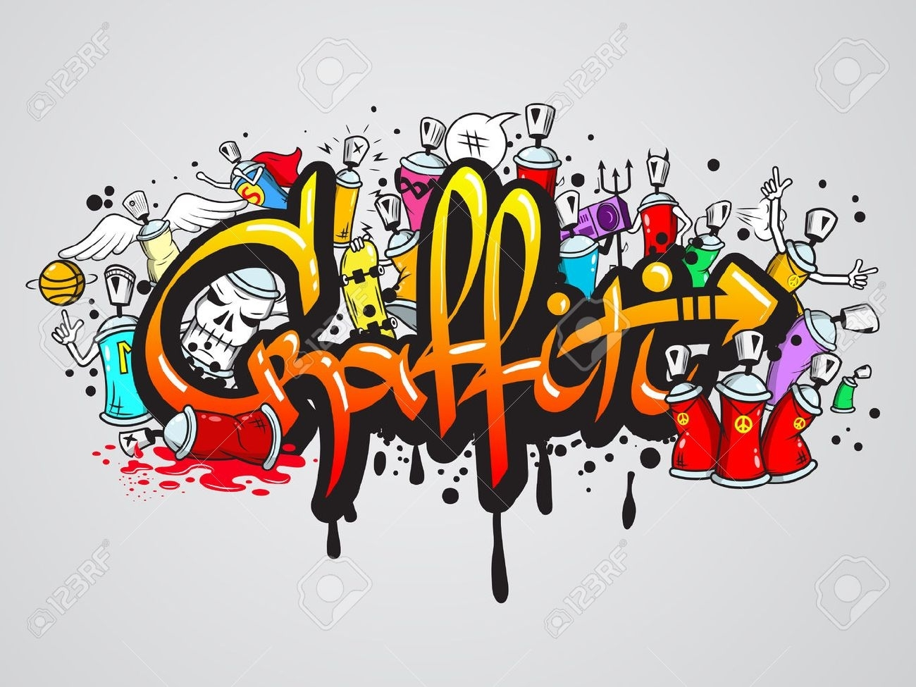 Decorative Graffiti Art Spray Paint Letters And Characters Throughout Current Abstract Graffiti Wall Art (View 9 of 20)