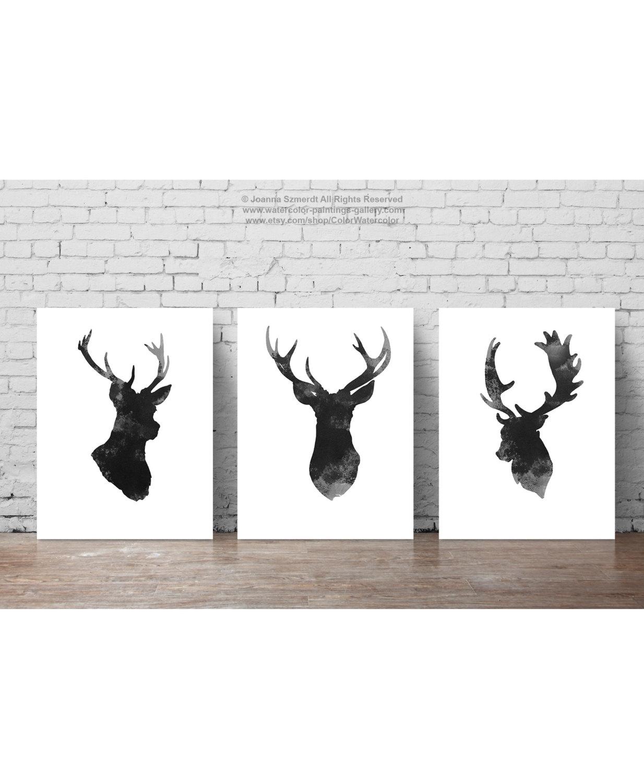 Deer Head Set Of 3, Gray Minimalist Drawing, Black Antlers Regarding Recent Abstract Deer Wall Art (View 18 of 20)