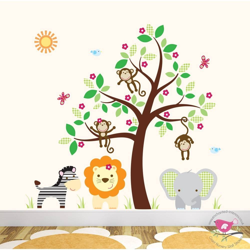 Deluxe Safari Nursery Wall Art Stickers With Newest Jungleanimal Wall Art (View 10 of 20)