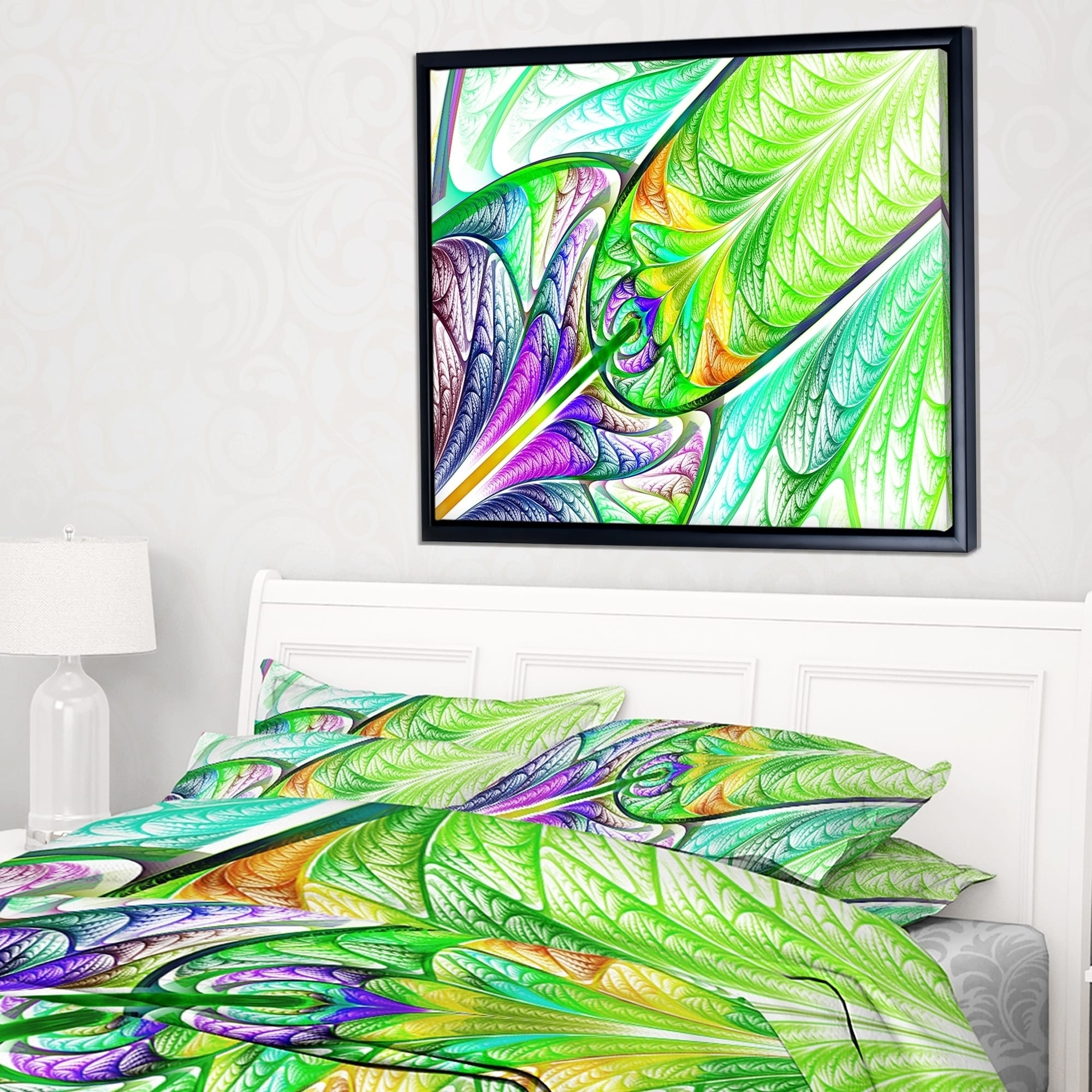 Designart 'green Blue Fractal Stained Glass' Abstract Wall Art With 2017 Glass Abstract Wall Art (View 9 of 20)