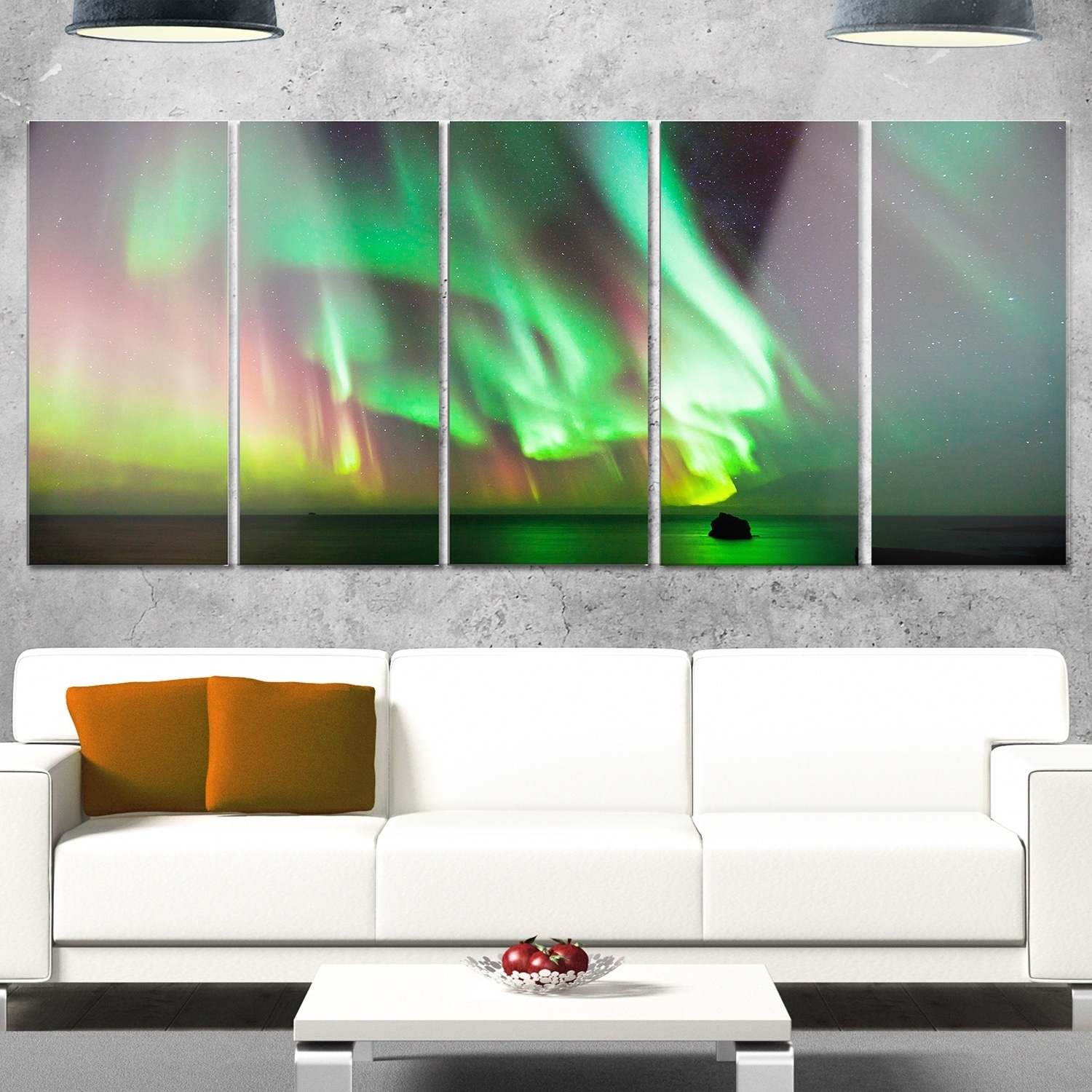 Designart 'green Northern Lights Aurora' Large Abstract Glossy Inside Most Popular Large Abstract Wall Art (View 8 of 20)
