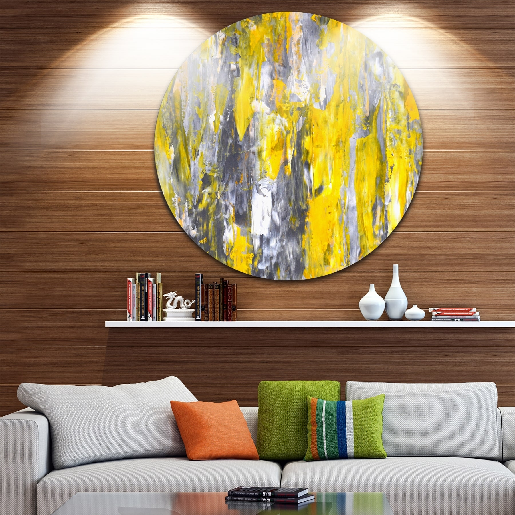 Designart 'grey And Yellow Abstract Pattern' Abstract Glossy Large Intended For Most Recently Released Overstock Abstract Wall Art (View 4 of 20)