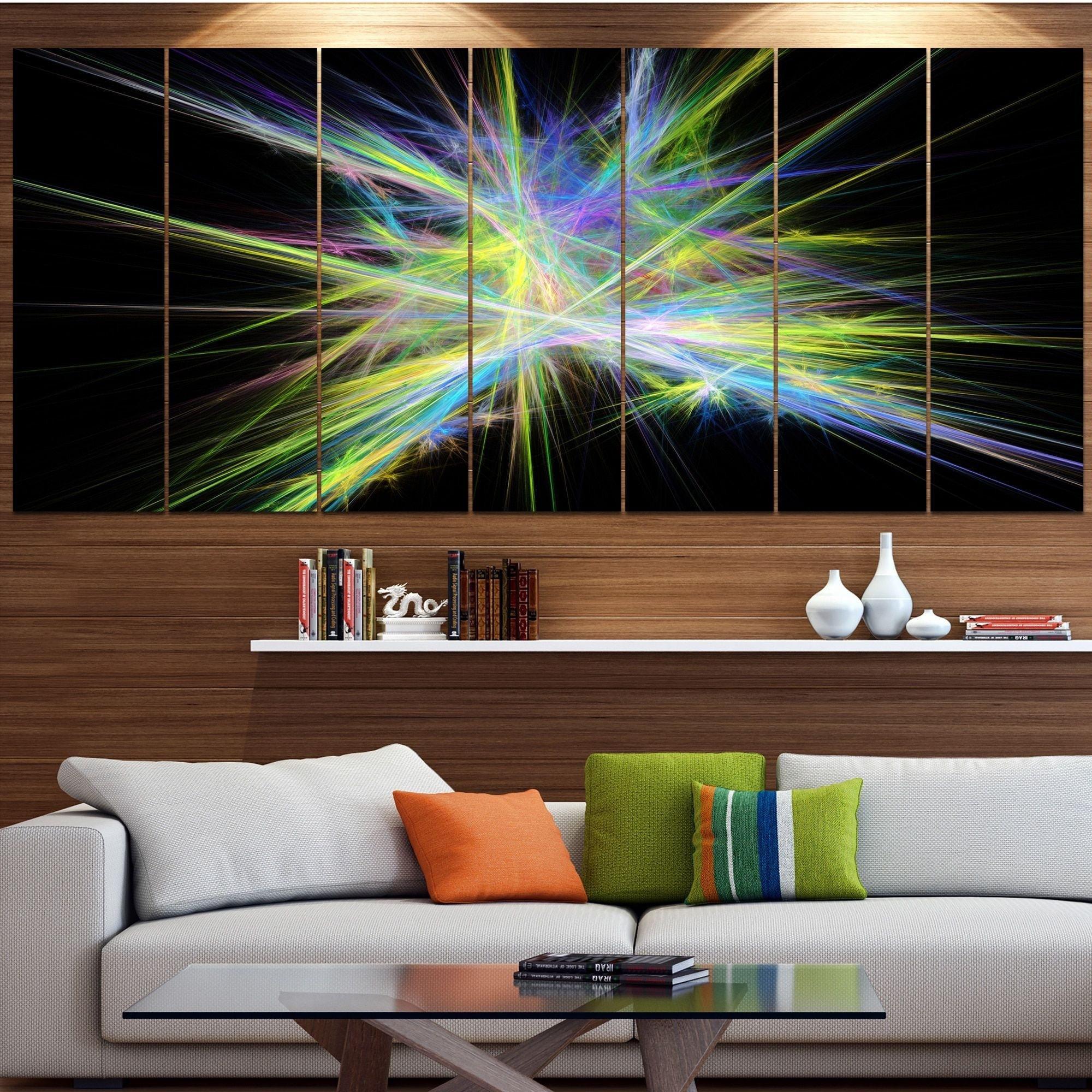 Designart 'yellow Chaos Multicolored Rays' Abstract Canvas Wall For Most Current Light Abstract Wall Art (View 6 of 20)