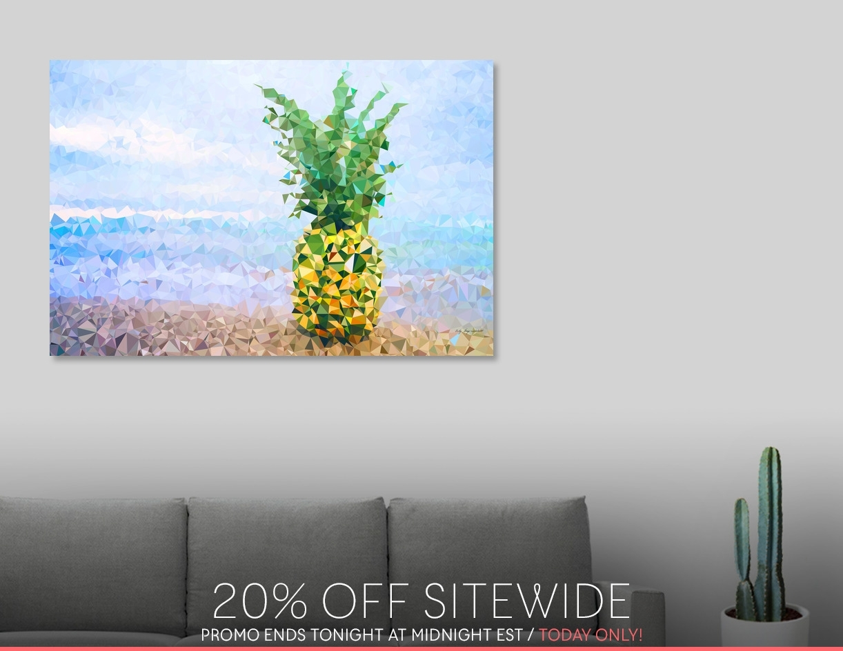 Discover «Pineapple On Beach Tropical Paradise Triangles», Limited Intended For Recent Limited Edition Canvas Wall Art (View 6 of 20)