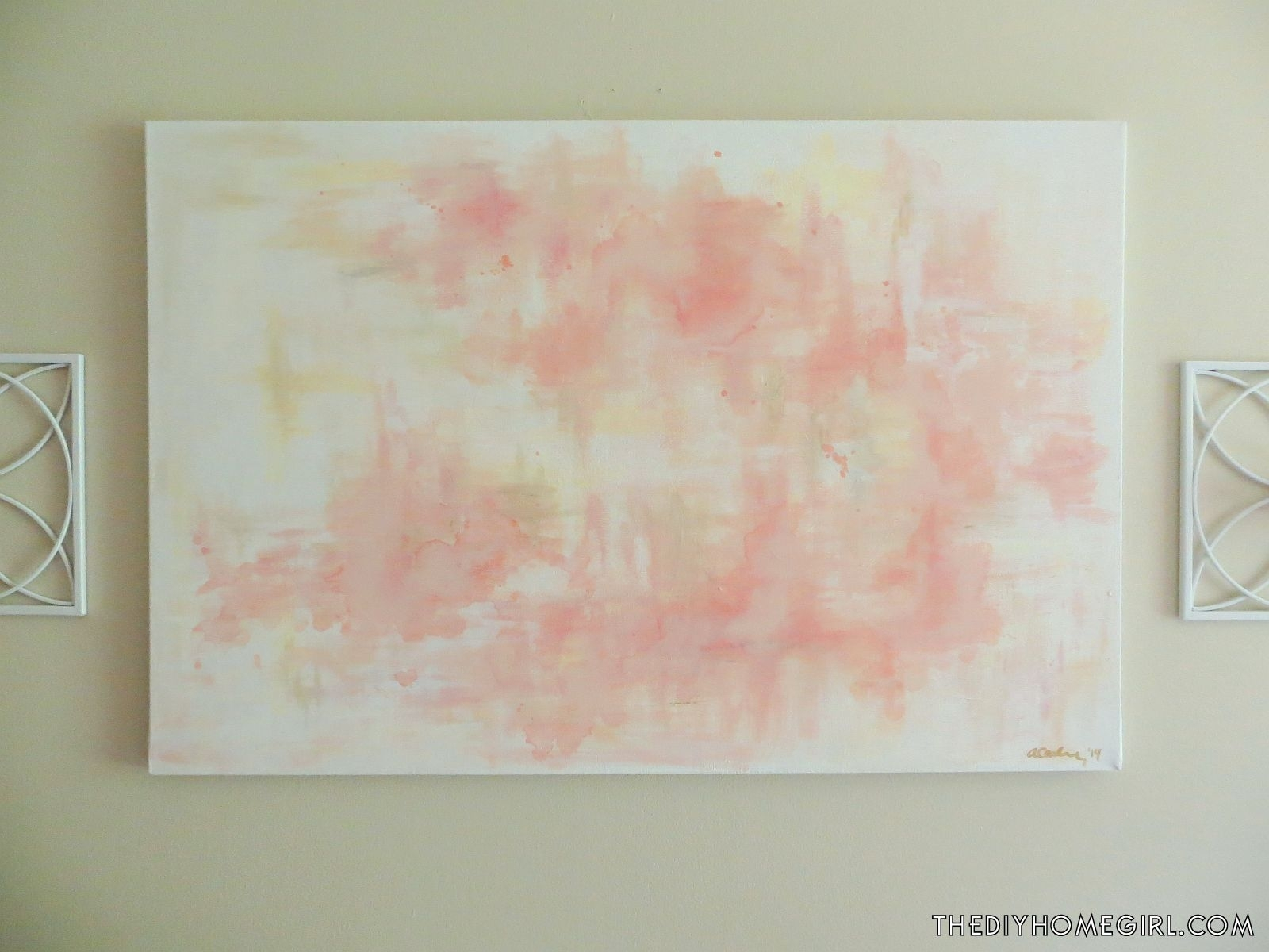 Diy Abstract Wall Art Salmon Shrimp Toast Pink Rose Gold Silver For Most Popular Diy Abstract Wall Art (View 5 of 20)
