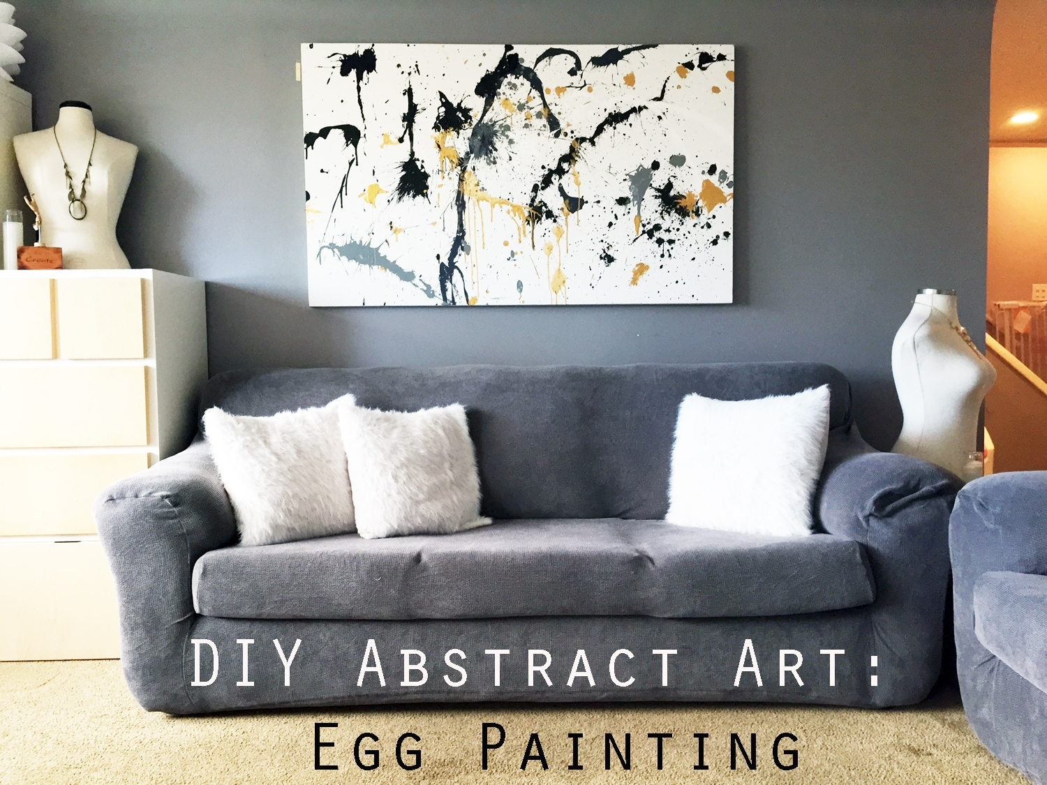 Diy Canvas Painting: Egg Splatter Gold Abstract Art – Creative Pertaining To Most Current Diy Abstract Wall Art (View 10 of 20)