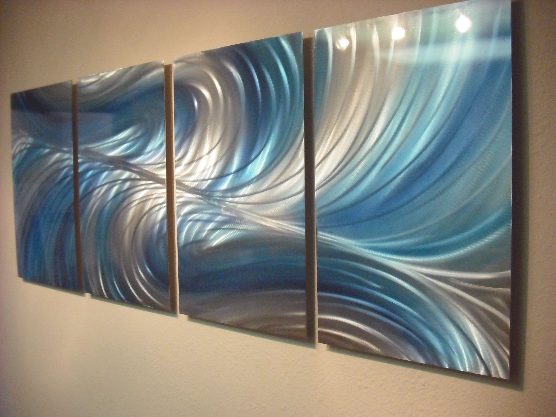 Echo 3 Blues – Abstract Metal Wall Art Contemporary Modern Decor Throughout Recent Aqua Abstract Wall Art (View 5 of 20)