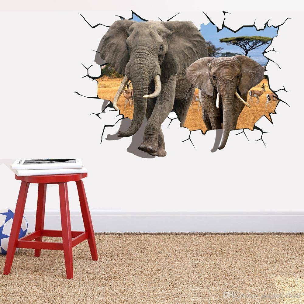 Elephant Break Through Wall Creative Decal Stickers Removable Kids With Regard To Best And Newest African animal Wall Art (View 10 of 20)