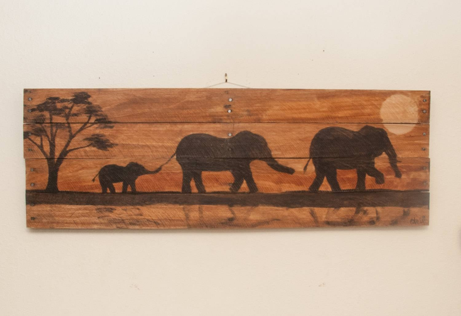 Elephant Painting Elephant Decor Elephant Art Nursery Wall Art Pertaining To Newest Wooden Animal Wall Art (View 7 of 20)