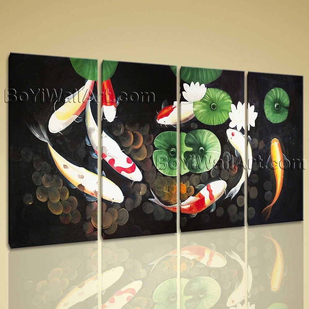 Extra Large Abstract Feng Shui Painting Zen Art Print On Canvas Pertaining To 2018 Abstract Fish Wall Art (Gallery 20 of 20)