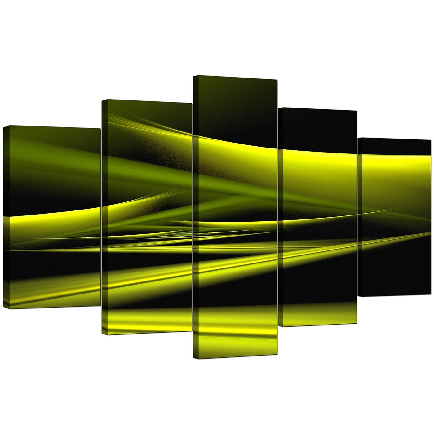 Extra Large Green Abstract Canvas Prints – 5 Piece For Best And Newest Lime Green Abstract Wall Art (View 11 of 20)