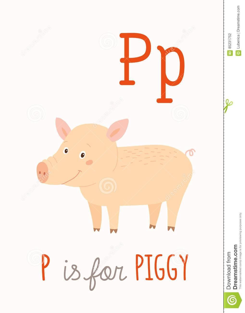 Farm Animal Alphabet P For Piggy. Abc Kids Wall Art. Card (View 18 of 20)