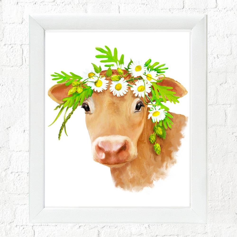 Farm Animal Art, Cow Art, Nursery Wall Art, Baby Farm Animal Inside Recent Farm Animal Wall Art (View 10 of 20)