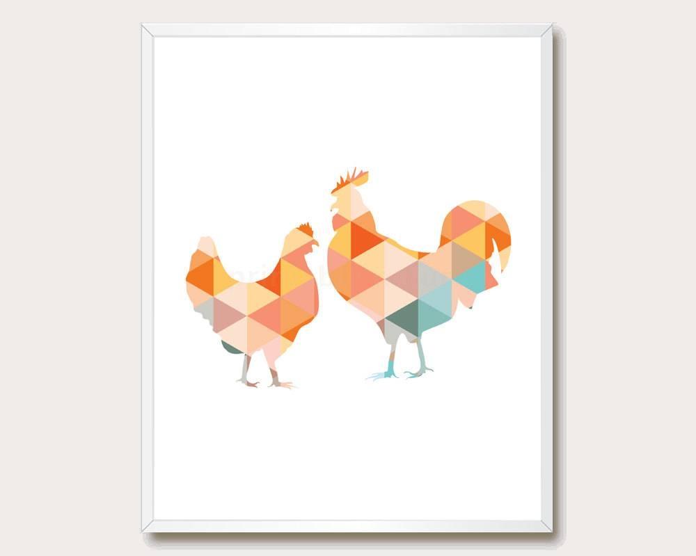 Farm Animal Print. Geometric Farm Animal Wall Art (View 10 of 20)