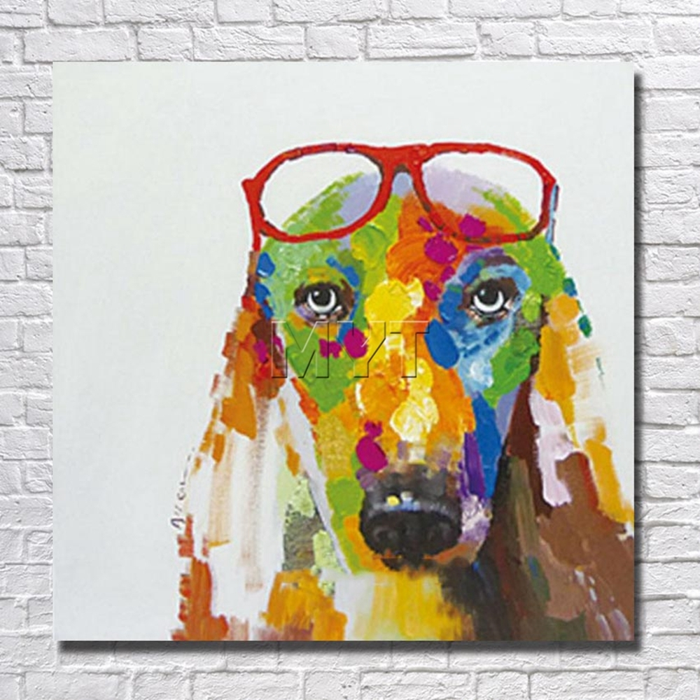 Fashion Glasses Dog Wall Art Home Decoration Living Room Throughout 2018 Abstract Dog Wall Art (View 10 of 20)