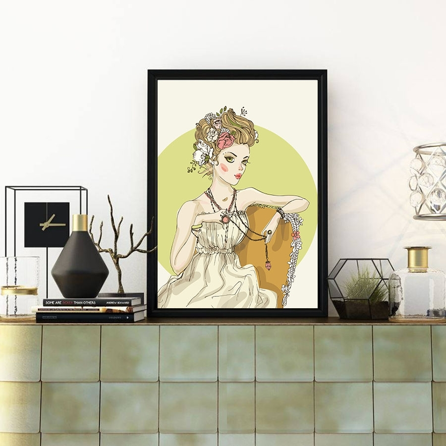 Fashion Watercolor Sexy Lady Portrait Painting Canvas Poster Home For Recent Abstract Wall Art Posters (View 10 of 20)